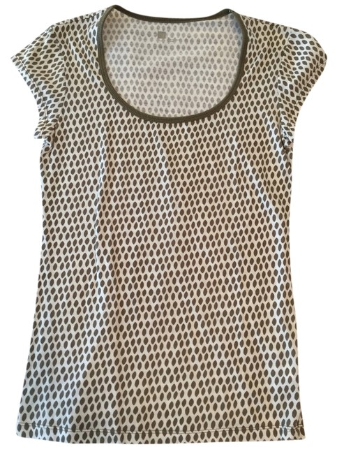 Item - White with Grey/Tan Dots Tee Shirt Size 4 (S)