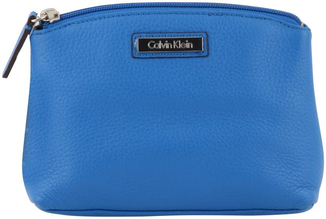Item - Pebbled Clutch/Make Up/Cosmetic - Blue Leather Clutch