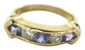 14K SOLID YELLOW GOLD RING TANZANITE 2 GENUINE DIAMONDS .20 CARAT BAND SZ 6.5