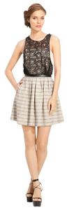 Tracy Reese Leather Trims Tweed Skirt Crochet Panel Dress