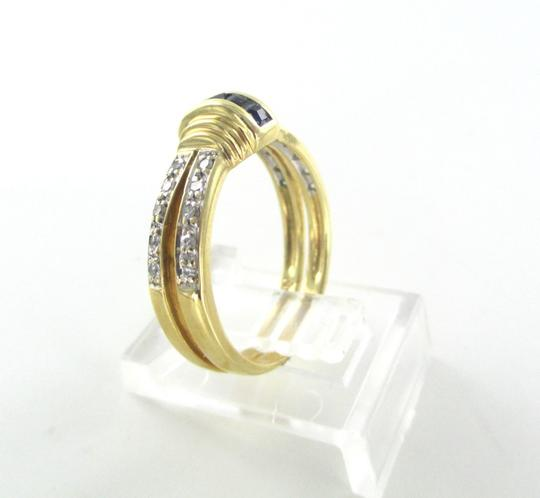 Other 14K SOLID YELLOW GOLD RING 20 GENUINE DIAMONDS 2 SAPPHIRES SZ 7 WEDDING BAND