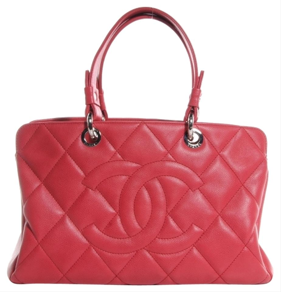 d332c65e64eb53 Chanel Shopping Classic Flap Grand Gst Jumbo Cc Logo Quilted Red Dark Pink Caviar  Leather Tote