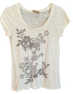 Ann Taylor LOFT T Shirt Cream with Grey Detail