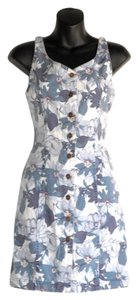 short dress blue Denim Jumper Floral Print on Tradesy