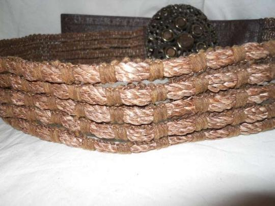 unknown leather & woven hemp belt