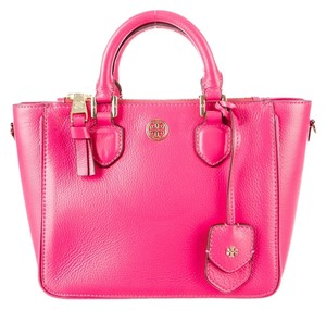 Tory Burch Textured Pebbled Leather Robinson Mini Square Gold Hardware Logo Reva Gold New Embellished Tote in Pink
