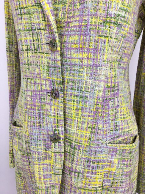 Chanel Vintage Lavender Green And Yellow Blazer