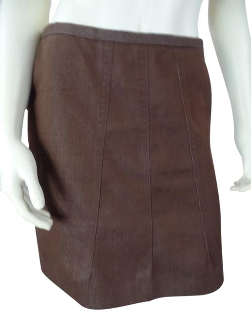 Item - Brown Chic Straight Unlined Zip Poly Stretch Blend Skirt Size 4 (S, 27)
