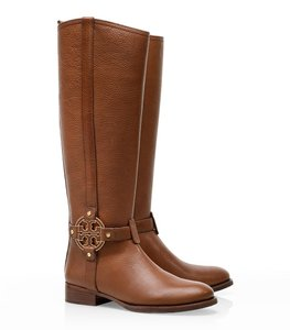 Tory Burch Leather Textured Riding Round Toe Logo Reva Monogram Gold Hardware Brown Boots
