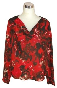 Vivienne By Vivienne Tam Floral 12 Top Red
