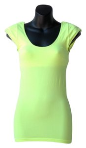 BCBGMAXAZRIA Padded Shoulders Stretch Top neon yellow