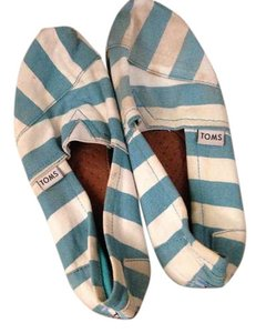 TOMS Nautical Summer Stripes Light Blue and White Flats