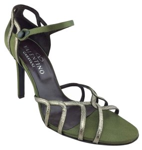 Valentino Satin Leather Strappy Green & pewter Sandals
