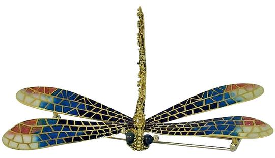 Other Large Enamel Diamond Gold Dragonfly Brooch