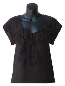 Mackage Loose Fitting Ruffles Chiffon Silk Short Sleeve Top black