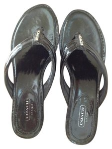 Coach Patent Leather Classic Black Wedges