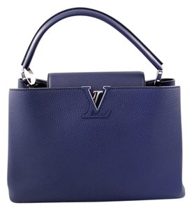 Louis Vuitton Capucines Mm Clemence Leather Luxury Satchel in Royal Blue