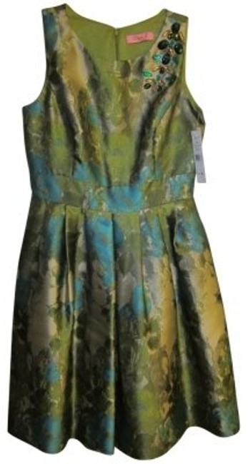 Preload https://img-static.tradesy.com/item/39979/eliza-j-silver-with-turquoise-and-green-knee-length-cocktail-dress-size-8-m-0-0-650-650.jpg