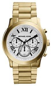 Michael Kors NEW WITH TAGS! Mid-Size Cooper Golden Stainless Steel Runway Chronograph Watch White Face