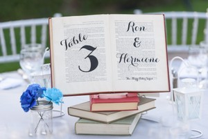 10 X Book Centerpieces With Table Number & Literary Couple Names