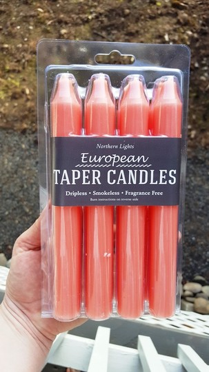 32 Coral Taper Candles- New In Box