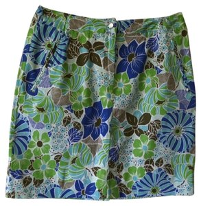 Skirt Blue, Green, White & Brown Floral Print