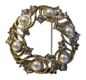 MONET Monet Gold tone mother of pearl swarovski crystal floral motif wreath pin brooch