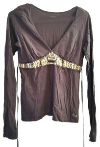 American Eagle Outfitters Brown Gold Embellished Beaded T Shirt
