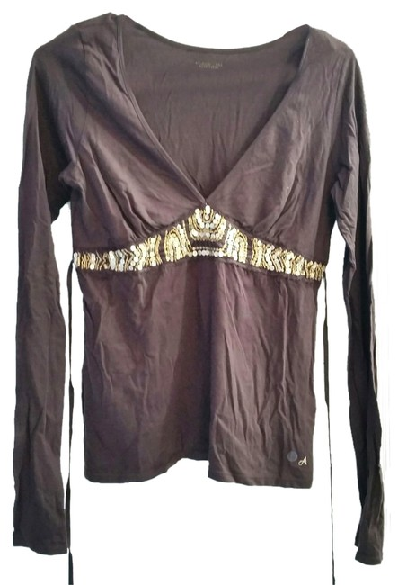 American Eagle Outfitters Brown Gold Embellished Beaded Sequin Empire Waist Tie Back Longsleeve T Shirt
