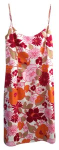Ann Taylor Pink Orange Floral Pattern Sheath Dress