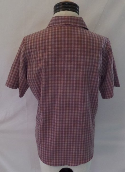 Wrangler Western Button Down Shirt Brown with Pink & Blue Checkered Print