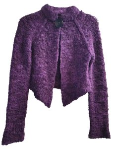CoVelo Wool Viscose Mohair Knit Sweater Boutique Plum Longsleeve Career Cardigan