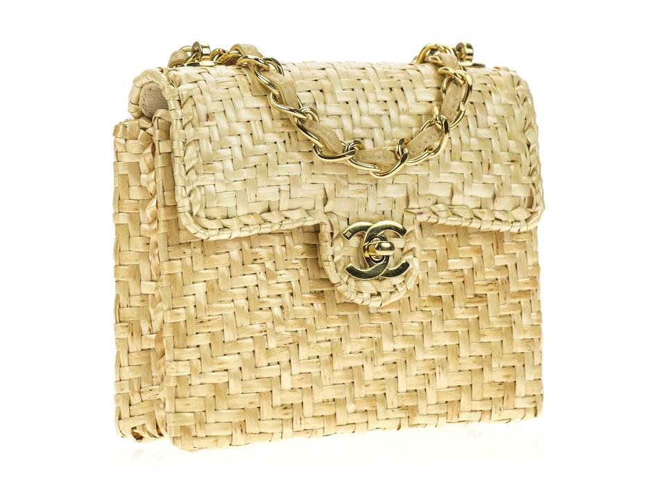 c9f1d0cbad26 Chanel Mini Flap Natural Straw Shoulder Bag - Tradesy