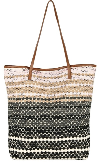 Item - Pink Black White Brown Leather Trimmed Crochet Knit Tote