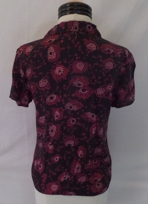Style & Co Top Black with Red & Pink Geometric Print