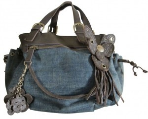 BCBGeneration Satchel in Blue w/ Brown Trim