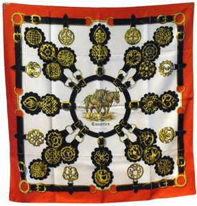 Hermès Hermes Vintage Cuirvreries Silk Scarf In Red and Black