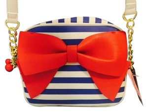 Betsey Johnson Striped Bow Bow Cherry Satchel in Red
