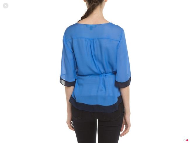 Elizabeth and James Silk Colorblock Top Navy and Blue