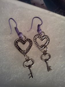 Other New never worn heart & key hook style earrings