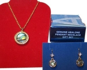 Avon New Genuine Abalone Necklace and Earrings