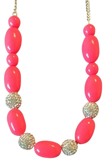 J.Crew Neon Pink And Diamond Necklace