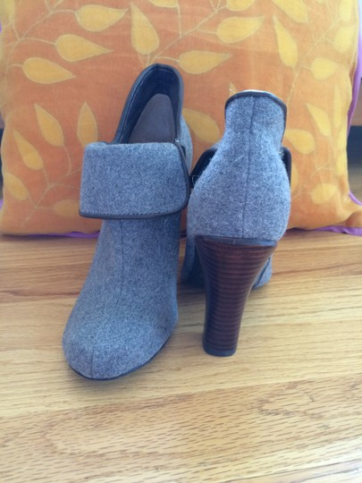 Fossil Gray with Brown Leather Trim Boots