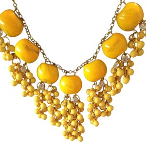 Anthropologie Yellow Fringe Necklace