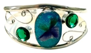 New Dichroic Glass Silver Plated Bangle Bracelet Green Blue J1019