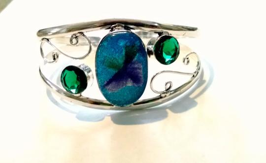 Other New Dichroic Glass Silver Plated Bangle Bracelet Green Blue J1019