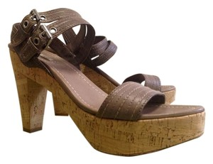 Miu Miu Leather Taupe brown Platforms