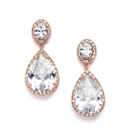 Rose Gold Hollywood Glamour Crystal Pear Drop Earrings