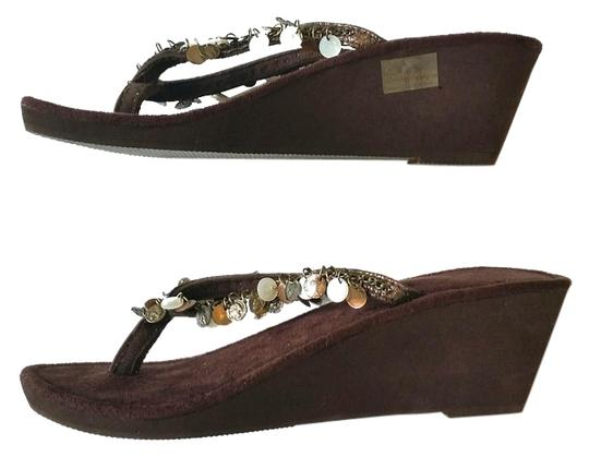 Other Foam Wedge Beaded Embellished Never Worn Brown Sandals