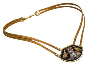 Hermès Hermes Vintage Tiger Royal Tigre Royale Gold Enamel Necklace Chic